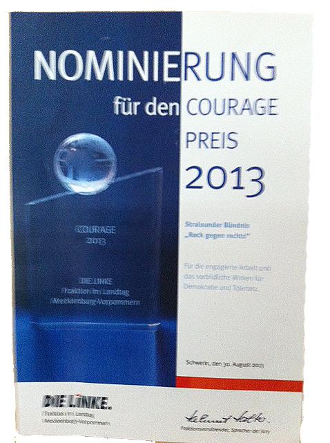 Courage Preis 2013: Rock gegen Rechts war dabei!