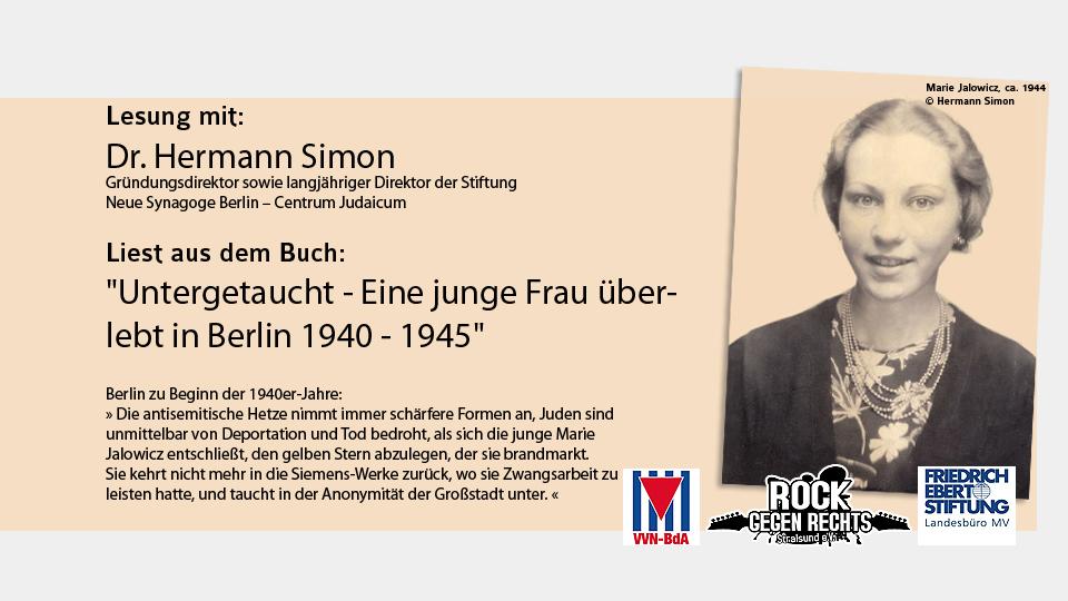 """Einladung zum 24. Juni: Lesung mit Dr. Hermann Simon liest aus dem Buch """"Untergetaucht"""""""